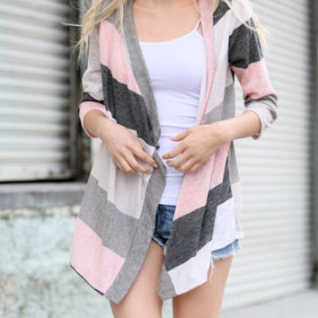 Colorblock Cardigan in Ivory and Charcoal