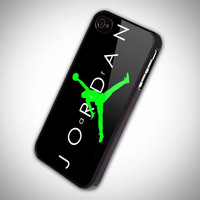 JORDAN green logo black background iPhone Case And Samsung Galaxy Case