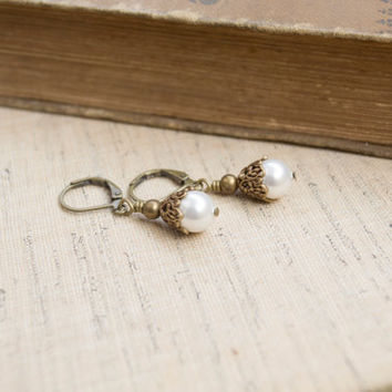 Pearl Earrings. White Swarovski Crystal Pearl. Antique Brass Drop Earrings. Wedding Jewelry, Bridesmaid Gift