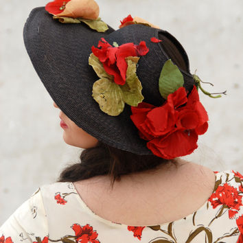Vintage 1930s hat, red poppies black straw sunhat bonnet, flowers, Jonquil Original, 1940s ladies depression era