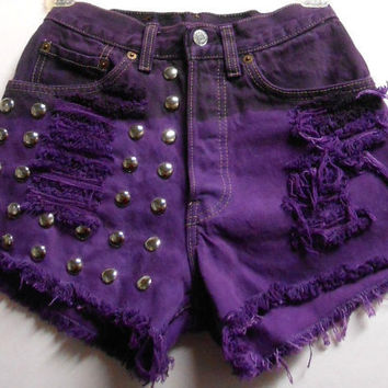 Vintage Levis High Waist Denim Shorts Purple by Turnupthevolume