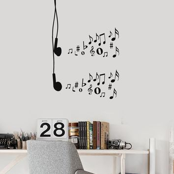 Vinyl Wall Decal Earphones Music Notes Musical Art Teen Room Stickers Mural (ig5255)