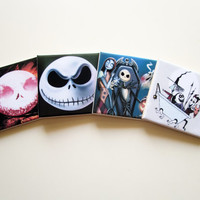 The Nightmare before Christmas Drink Coasters set of 4 ceramic tiles *** Choose between 20 different images *** Jack Skellington collectible