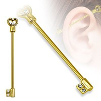 Industrial 16g (1.2mm) Heart Key with CZs Industrial Barbell 316L Surgical Steel - Choose your color