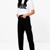 Sophie High Rise Roll Hem Mom Jeans | Boohoo