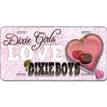 Dixie Girls Love Dixie Boys Embossed Aluminum Car Tag By Dixie Outfitters®