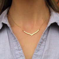 SHOP SALE - Gold Chevron 24k Gold Chain Necklace