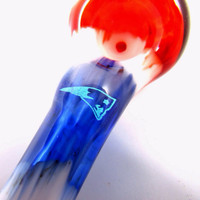 Hand Blown Glass Tobacco Sports Team Dichro Pipe New England Patriots Superbowl Football