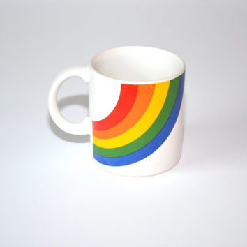 Vintage Coffee Cup Rainbow Coffee Cup Rainbow Mug Rainbow Cup Rainbow Glass 80s FTD Rainbow Mug Rainbow Coffee Mug Tea Cup