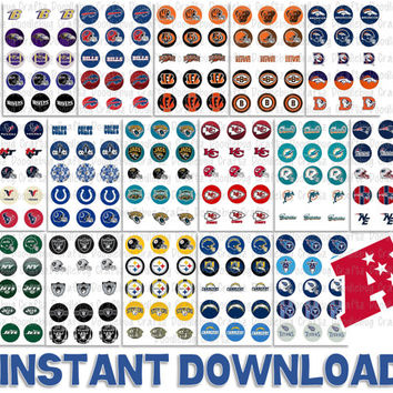 "SAVE 50% - Complete Set of NFL BottleCap Images - All 32 Teams - Printable Bottlecap Images - Instant Download 1"" circles - 480 Images"