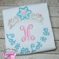 Elsa Frozen Princess Inspired Monogram Tiara with Phrase - Princess Movie - Custom Tee