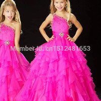 2016 Lovely Little Kids Ball Gowns Flower Girl Dresses One-shoulder Floor Length Organza Beading Cheap Girl's Pageant Dresses