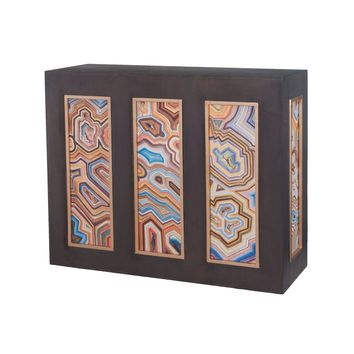 Killian Console Antique Smoke,Gold,Hand Painted Canvas