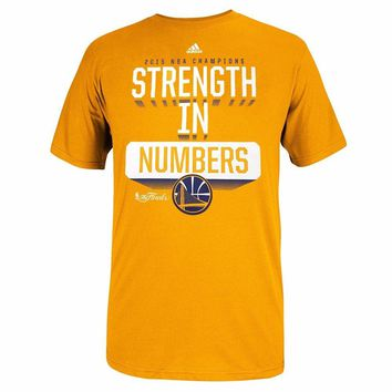 adidas Golden State Warriors NBA Men Gold Strength in Number Slogan NBA Finals Graphic T-Shirt