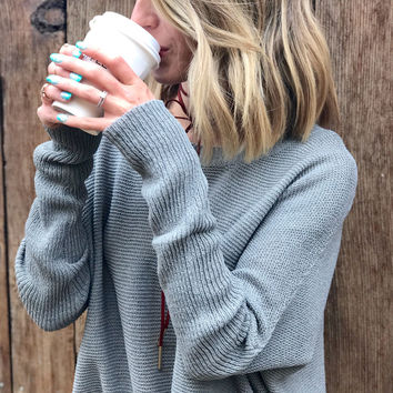 Coffee Shop Sweater Gray