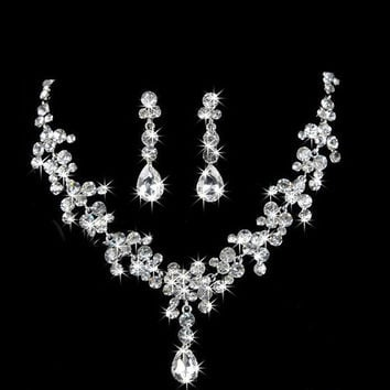 Bride Silver Crystal Rhinestones Drop Necklace Earring Jewelry Set Wedding Party = 1929553092