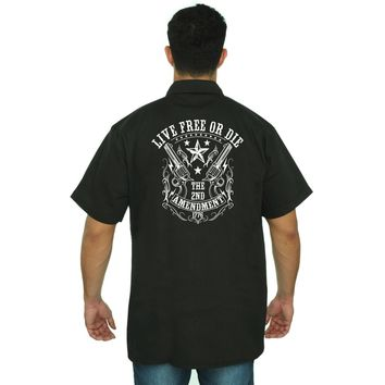 Men's Mechanic Work Shirt Live Free or Die 2nd Amendment