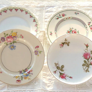 On Sale Vintage Mismatched China Plates for Weddings  Set of 4  Replacement China Bridal Luncheons Tea Party Hostess Gift Bridesmaid Gift