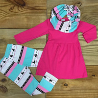 Baby Girl Clothes, Toddler Girl Outfit, Infant, Pink Deer Print Scarf Outfit, Boutique Outfit, Kids Clothing, Fall, Winter, Girl Clothes