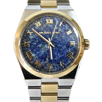 MICHAEL KORS CHANNING TWO-TONE STAINLESS STEEL WATCH WITH BLUE LAPIS DIAL MK5893