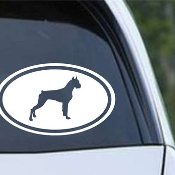 Boxer Dog Euro Oval Die Cut Vinyl Decal Sticker