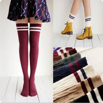 Designer Women Over The Knee Socks Thigh High Thick Lovely Girls Princess Knee High Long Socks Puscard