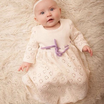 Baptism dress Knit Baby girl long white Dress Flower girl First birthdays dress off white