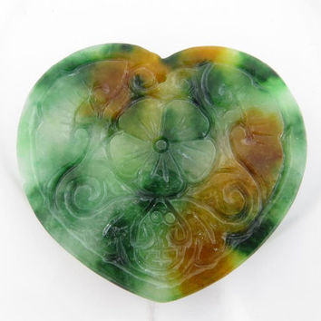Green carved burma jade pendant, multicolor heart charm for necklace, gemstone beads for handcrafted jewels, gemstone jewelry
