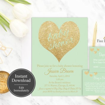 Mint Gold Baby Shower Invitation Printable, Instant Download, Gender Neutral Invite, Gold Glitter, Baby Shower Invite Template, DIY, Digital