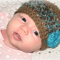 Cafe Latte and Blue Rose Beanie NB, 0-3, 3-6  6-12 Months 1-3 Years Toddler  Baby Shower Gift, Infant, Perfect Photo Prop