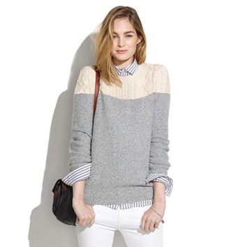 Colorblock Cableknit Sweater - pullovers - Women's SWEATERS - Madewell