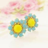 Turquoise and Yellow Flower Post Earrings - Turquoise Blue and Bright Yellow Rhinestone Flower Stud Earrings - Surgical Steel - Bridesmaid