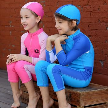 boy girl swimsuit long sleeve  Kids Swimming Rash Guard one piece  diving suit UPF50+ 90cm - 140cm pink blue and sapphire blue