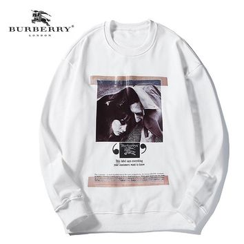 Burberry Fall Winter New Co-branded Poster Oil Painting Print Hoodie White