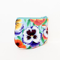 Pansy Coin Purse, Change Pouch, Zipper Pouch, Fabric Pouch, Pouch, Cute Pouch, Gift, Kaffe Fasset Collective Pansy in Blue and Purple