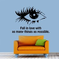 Wall Decals Quote Fall in Love with As Many Things As Possible Woman Girl Eys Love Fashion Vinyl Decal Sticker Bedroom Living Room Decor Home Interior Design Art Murals