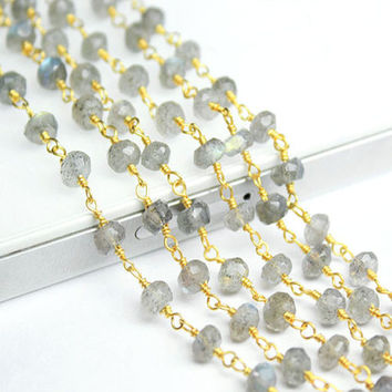 Labradorite Beads Link Chain Necklace 14K Gold Vermeil