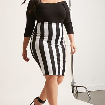 Plus Size Striped Pencil Skirt