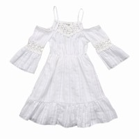 Flower Baby Girls Toddler Kids Cotton Boho Princess Mini Dress Kids Off Shoulder Short Sleeve Party Wedding Pageant Lace Dresses