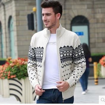 Pop!Men's Knitted Sweaters Cardigans Collar Winter Wool Sweater Fashion Cardigans Male Sweaters Coat Brand Men's Clothing