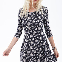 FOREVER 21 Rose Print A-Line Dress Black/Cream