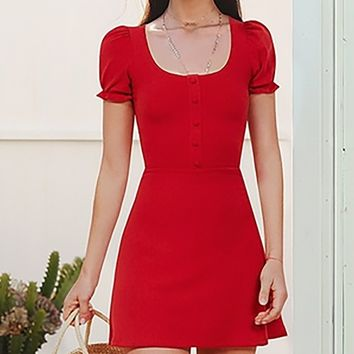 Behaving Badly Short Puff Sleeve Ribbed Scoop Neck Button Casual A Line Flare Mini Dress - 6 Colors Available