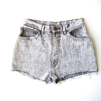 80s Faded Black Jean Shorts High Waist Cut Off Denim Shorts 1980s Distressed DESTROYED DENIM Shorts Stone Wash Hipster Boho Womens XS Small