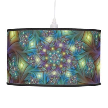 Illuminated modern blue purple Fractal Pattern Hanging Lamp