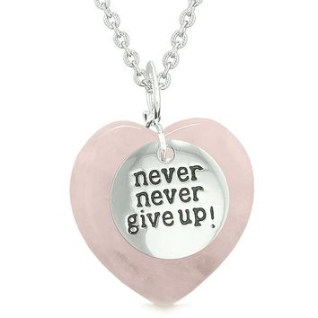 Amulet Never Give Up Inspirational Puffy Magic Lucky Heart Charm Rose Quartz Pendant Necklace