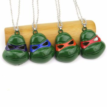 Hot Movie Teenage Mutant 4 Style Ninja Turtles Action Figures Pendant Necklace Alloy 1988 Mask Men Necklace Costume Jewelry