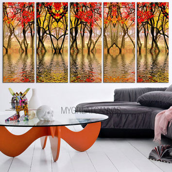 Large Wall Art Autumn Canvas | Forest Art Canvas Print | Tree Branches Canvas Painting | Tree Branches in River Canvas Print