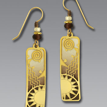 Adajio Earrings - Brown and Cream with Gold Plated Sun Overlay