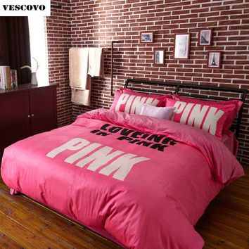 VS Pink Princess Comforter Bedding Set for Girl's Bedroom Decor Cotton Bedspread Duvet Covers Queen