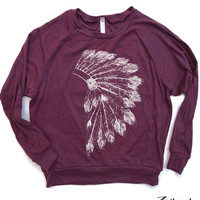 Womens Native American HEADDRESS Tri-Blend Pullover - american apparel S M L (5 Color Options)